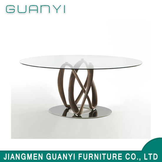 2019 Modern Glass Wooden Furniture Cafe Table