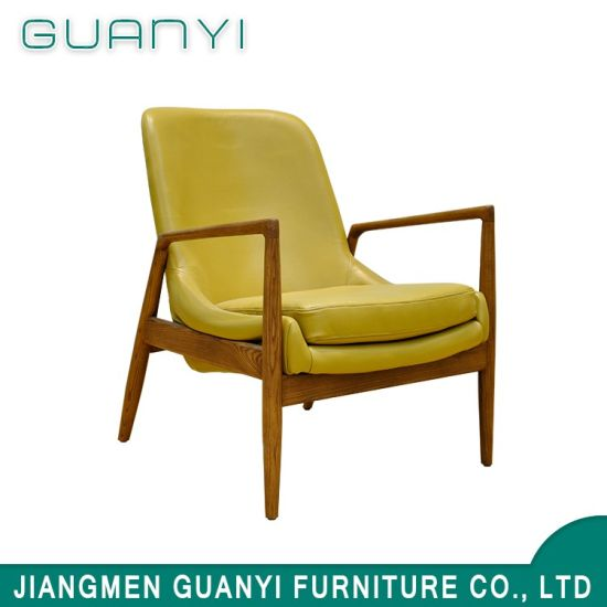 Bedroom Furniture Yellow PU Lounge Armrest Cover Chair