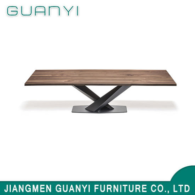 Modern Wooden Metal Leg Restaurant Dining Table